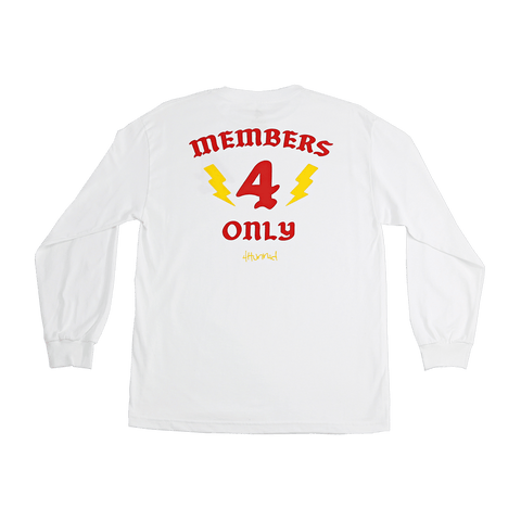 MEMBERS ONLY LONG SLEEVE TEE - WHITE - 4Hunnid
