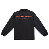 Free the Homies Nylon Jacket - Black-4Hunnid