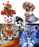 Adorable Animals DIY Diamond Painting Mosaic Craft Project: 5 Variations
