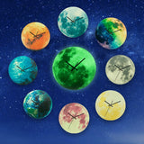 Glow In The Dark Moon Wall Clocks: Battery Operated in 9 Colors