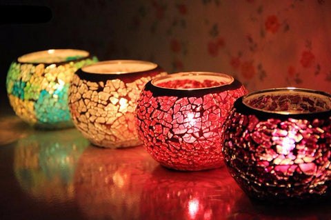 Fractured Glass Tealight/Votive Candle Holder in Random Color: 1 pc