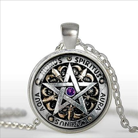 Pentagram and Runes Glass Cabochon Pendant in 3 Metal Colors w/Chain