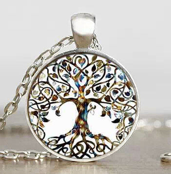 Tree of Life/Mothers Womb Glass Cabochon Pendant w/Chain: Silver Plated or Antiqued Brass
