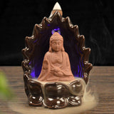 Monk/Buddha Backflow Incense Pods w/Color Changing LED Light in 4 Styles