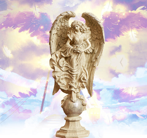 Benevolent Angel w/Dove Resin Cast Statue/Effigy (2 sizes)