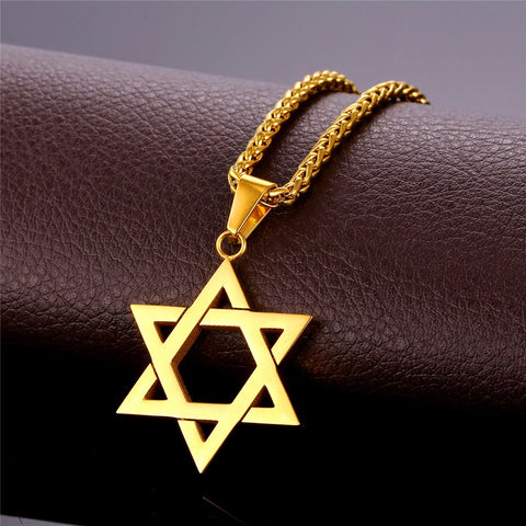 Chain Link Necklaces With Star of David and Hand of Fatima (Hamsa) Pendants