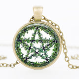 Climbing Vines Pentagram Glass Cabochon Necklaces in 3 Styles