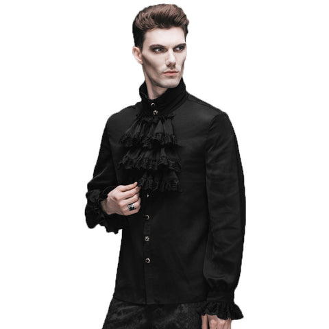 Gothic Steampunk Flounce Tie Shirt Long Sleeves in 2 colors (Black and White)