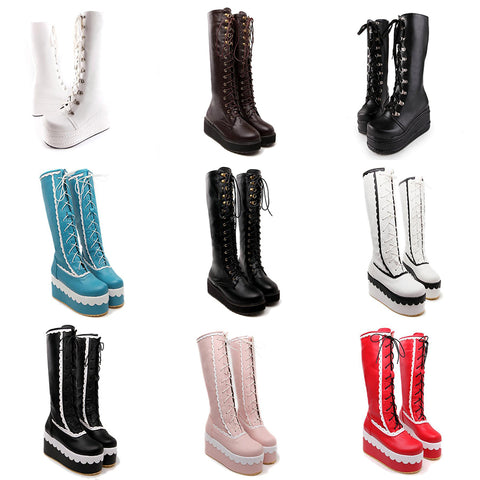Knee-High Lace-Up Boots: Flats & Wedges in 9 varieties (US Sizes 4-10.5)