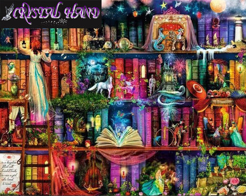 5D DIY Diamond Mosaic Kit: Fantasy Library (5 sizes)