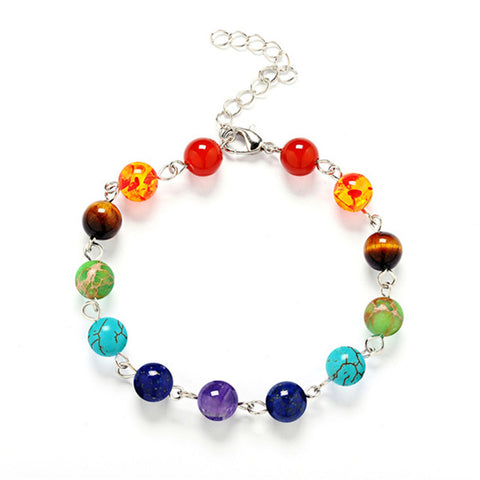 Delicate Chakra Bead Bracelet in Two Styles: 8mm