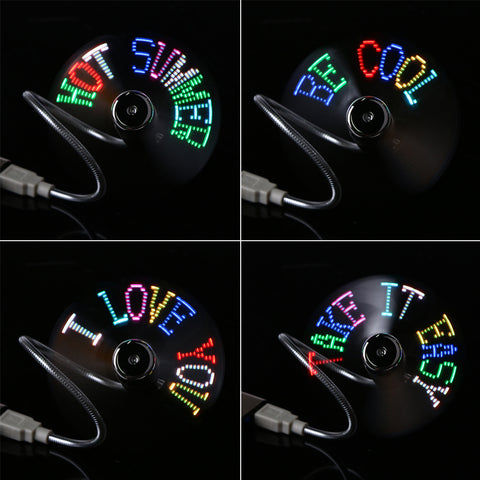 USB Powered Programmable LED Gadget Mini Fan. Flashes 4 Different Messages