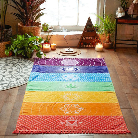 Oversized Microfiber Rainbow Chakra Towel, Mat, Rug, or Wall Decor