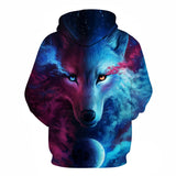Stunning printed hoodie wolf with dual colored eyes