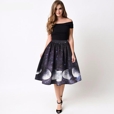 Moon Stages 3D Print, Below-the-Knee Galaxy Skirt: (M-L)