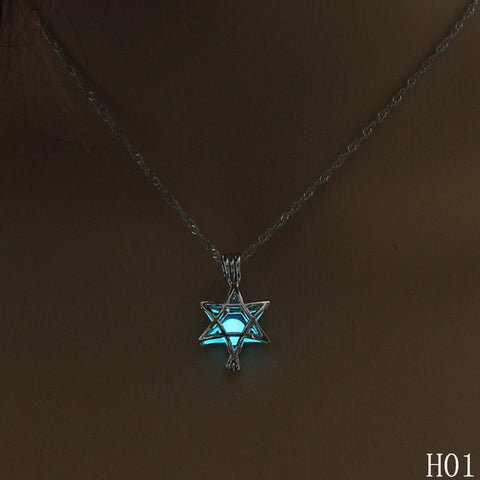 Glow in the Dark Six-Pointed Star Pendant in 3 Luminescent Colors