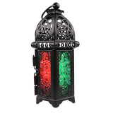Moroccan Style Tealight/Votive Candle Lanterns w/Stained Glass: Black or White
