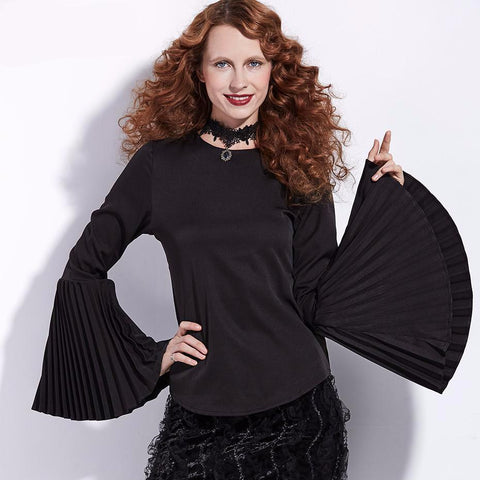 Fan Pleat Bell Sleeved O-Neck Top in Black (S-3XL)