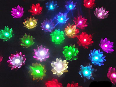 HUGE LOT of 50 Floating Lotus LED Lights: Random Colors