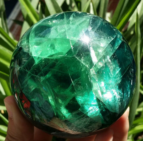 Stunning Natural Green Fluorite Crystal Ball: 65mm