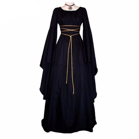 Beautiful Superior Quality Medieval Style Dress w/Princess Bell Sleeves & Corset Cable: S - 3XL
