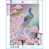 DIY 5D Diamond Mosaic Embroidery Kit Magnolia Peacock: 2 Varieties