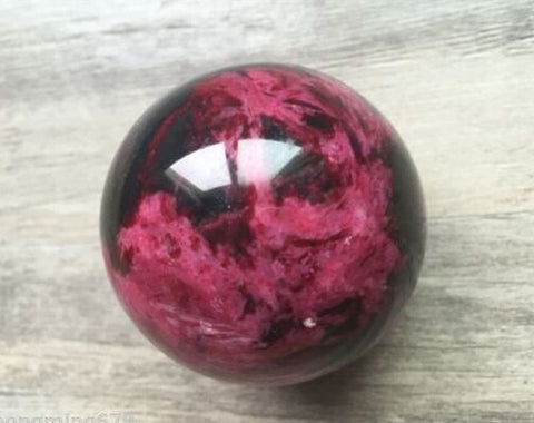 Natural Peach Blossom Jade Orb (50mm)