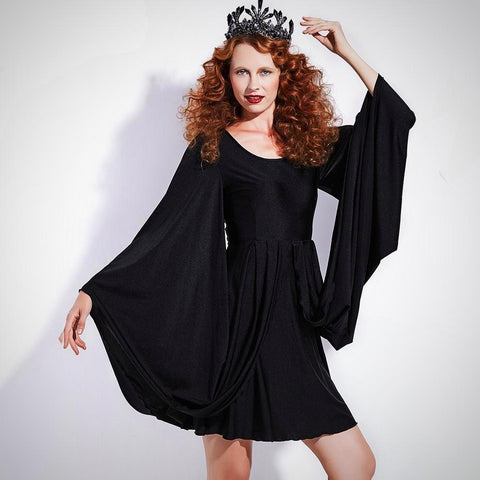 Black Giant Bell-Sleeved O-Neck Mini-Dress or Tunic Top: (S-3XL)