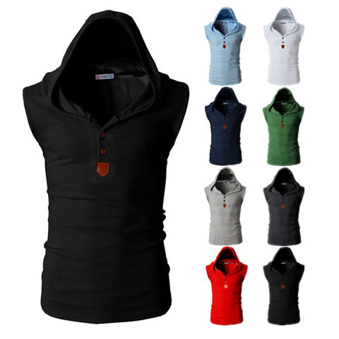 V-Neck sleeveless hooded tank tops in 8 different Colors.