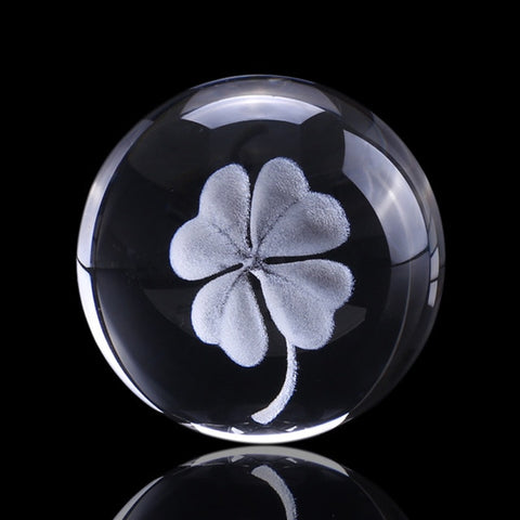 Lucky Clover Laser Etched Crystal Ball 6cm w/ or w/o Stand
