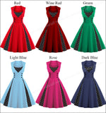 Retro Pin-Up Dress w/Polka Dots & Buttons in 6 Colors (S-4XL)