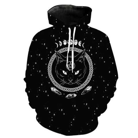 Super Comfy Pull-Over Hoodie w/Black Cat, Pentagram & Moon Phases (S-3XL)