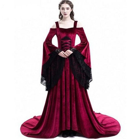 Long Elegant Bell-Sleeved Renaissance Dress 3 Color Choices (S-5XL)