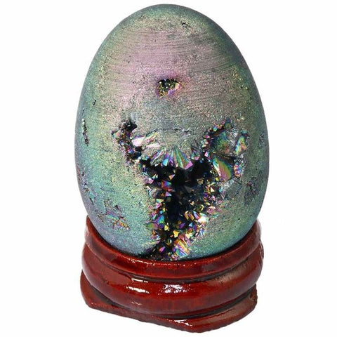 Titanium Coated Geode Eggs w/Wood Stand (4 colors)