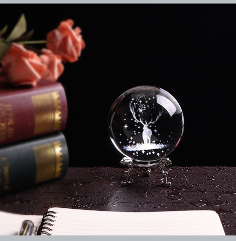 Harry Potter Stag Patronus Laser Etched Crystal Ball w/ or w/o Stand