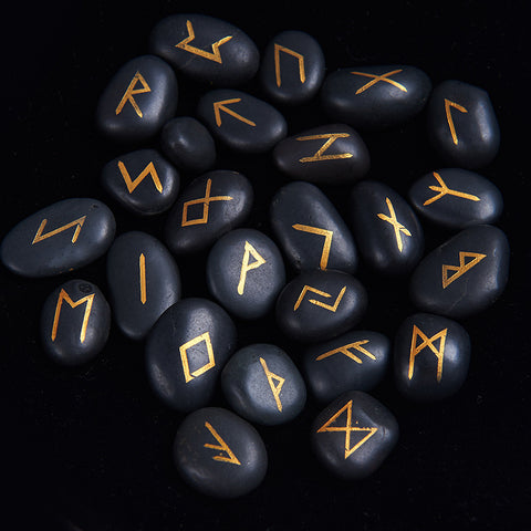 25pc Engraved Riverstone Rune Stone Set w/Mat & Bag