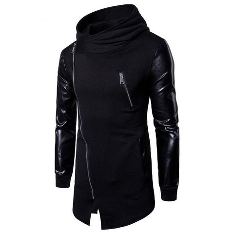 Zip-Up Hooded Jacket w/Faux Leather Sleeves (M-2XL)