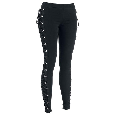 Lace-Up Black Studded Leggings (S-XL)