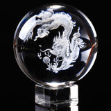 Gorgeous Clear Crystal Ball w/Laser Etched Chinese Dragon Inside: 60mm