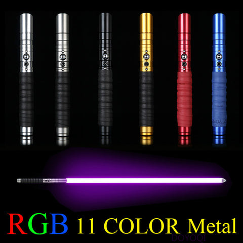 11 Color Light Metal Lightsaber w/Sound, Vibration, & Light Pattern Effects (6 Metal Choices)