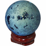 Titanium Coated Geode Orb w/Wood Stand (4 colors)