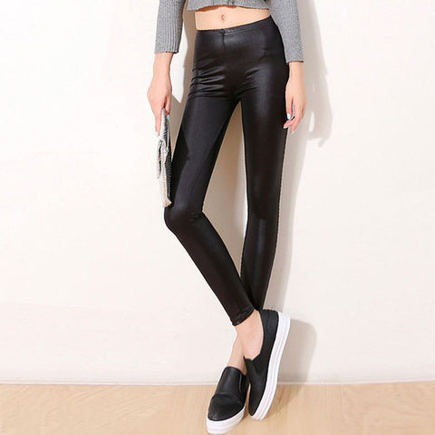 Leather Look Stretchy Leggings in 2 Colors (S-3XL)