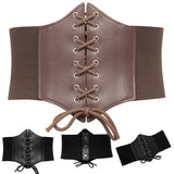 Elastic, Lace-Up, & Snap Closure Corset Style Belt 5 Colors (S-3XL)