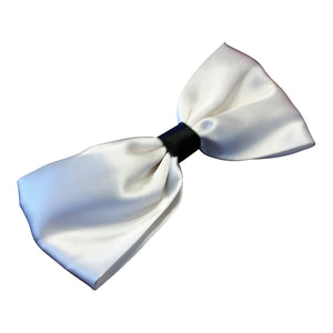 White and Black Satin Hairbow