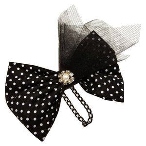 Hairbow Black and white polka dot - thatboholife