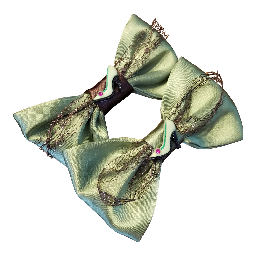 Hairbow set/ Lime Green & Brown - thatboholife