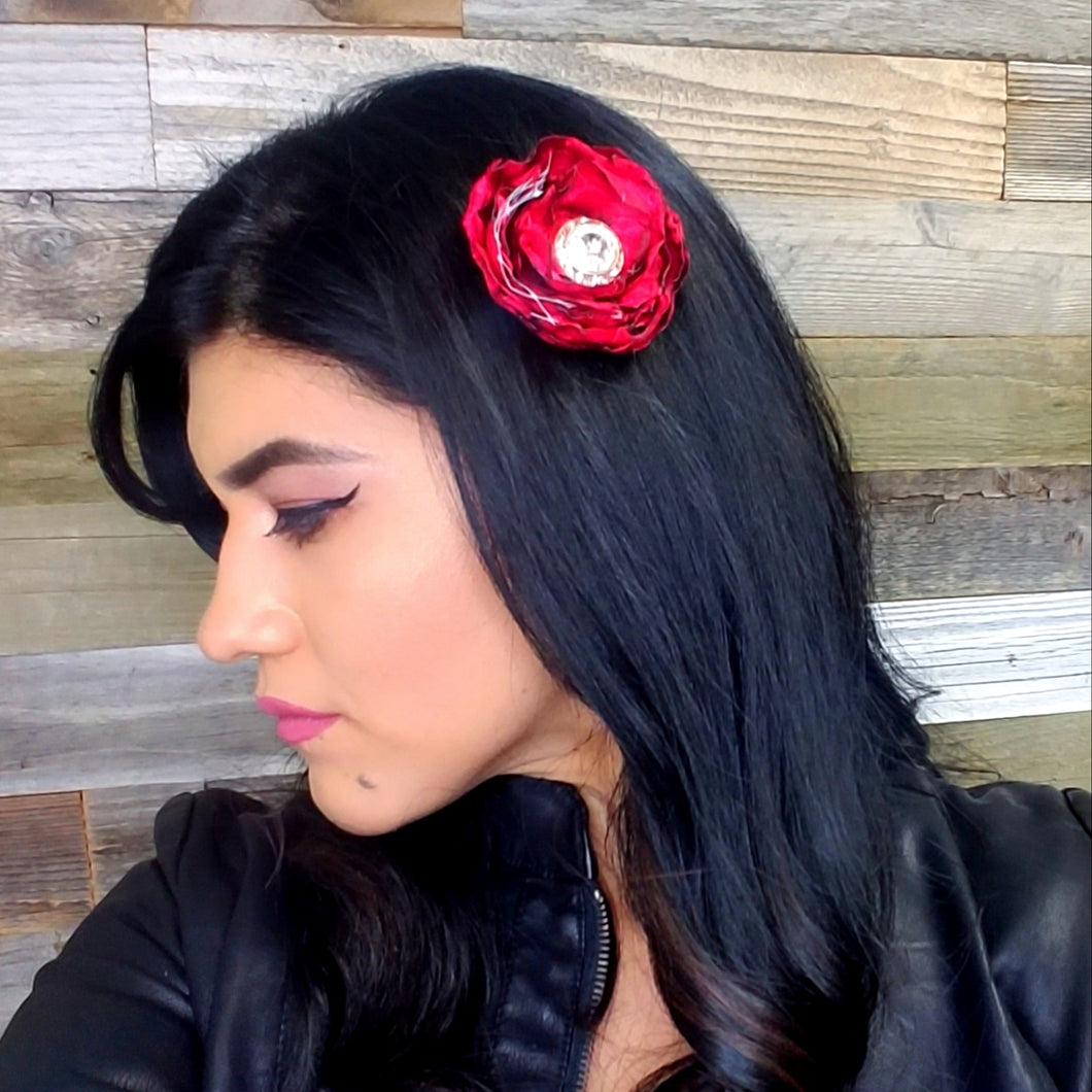 Red Satin Fascinator - thatboholife