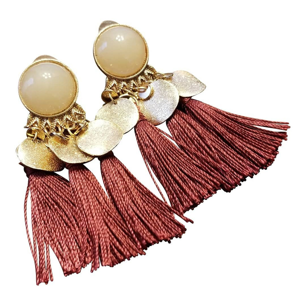 Fringe Tassel Earrings Burgundy - thatboholife