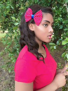 Red and White polka dot bow - thatboholife