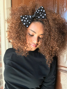 Black and White Polka Dot Hair Bow - thatboholife